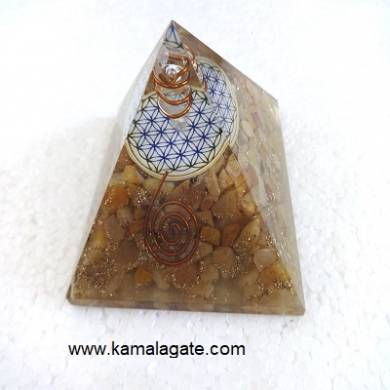 Yellow Aventurine Orgone Pyramid With Flower Of Life