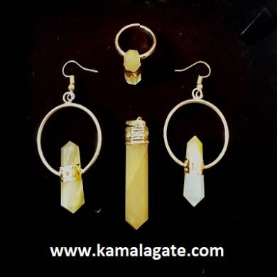 Yellow Aventurine Pencil Point Pendent set in golden