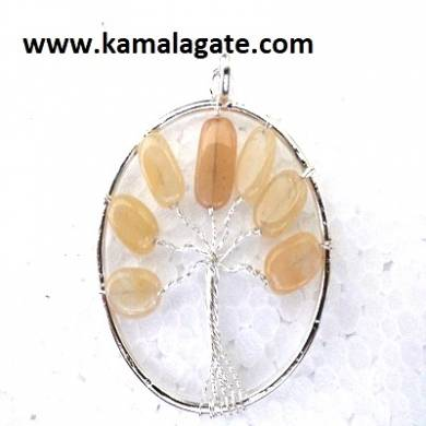 Yellow Aventurine Tree Of Life Pendant (silver)
