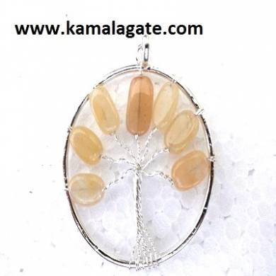 Yellow Aventurine Tree Of Life Pendant (silver)