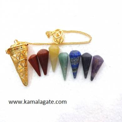 Cage With 7 Chakra Cone Shape Pendulums Set