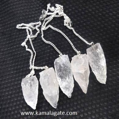 Crystal Quartz Gemstone Cluster Pendulums With Plain Chain