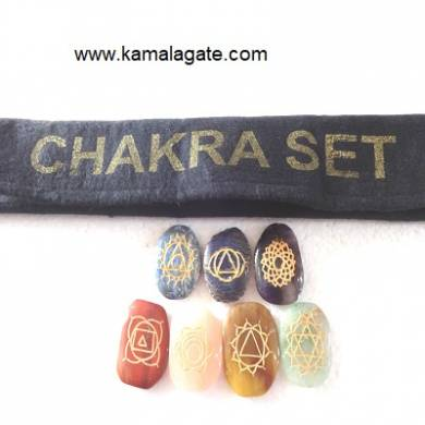 Engraved Palm Stone Chakra Sets With Valvet Purse