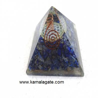 Lapiz Lazuli Orgone Pyramid With Flower Of Life