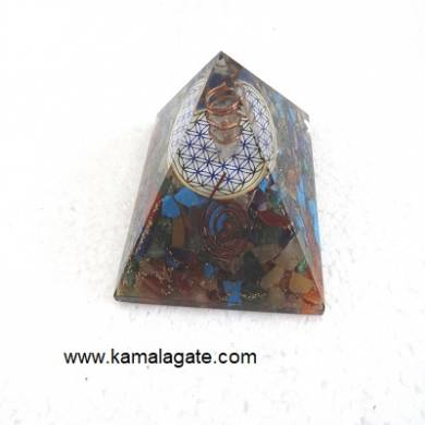 Mix Stone Orgone Pyramid With Flower Of Life