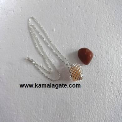 Orange Aventurine Spiral Necklaces