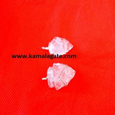 Rose Quartz Wire Wrap Arrowheads Pendents