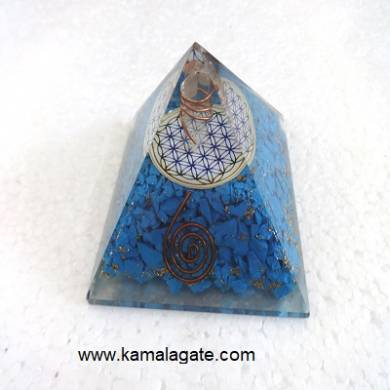 Turquoise Orgone Pyramid With Flower Of Life
